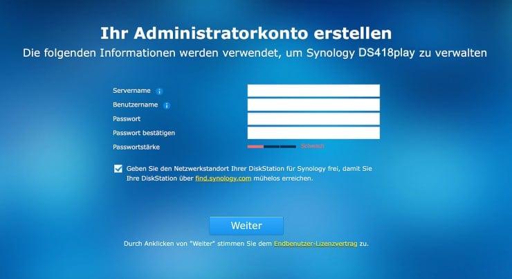 Synology DSM Adminkonto einrichten