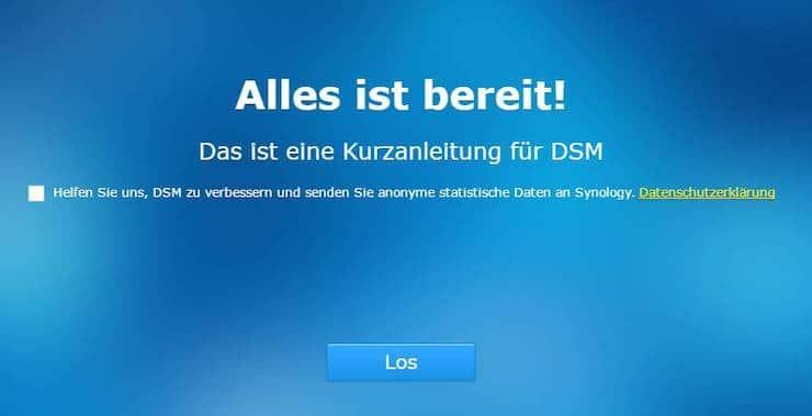 Synology DSM Installationsabschluss