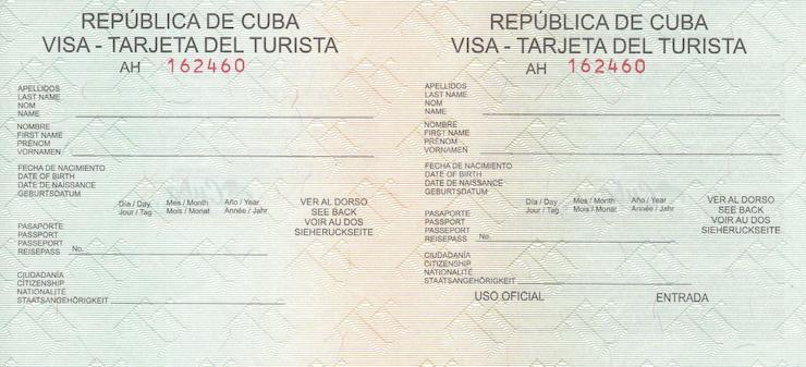 Normale Touristenkarte Kuba