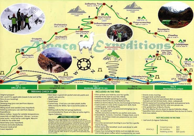 Salkantay Trek Machu Picchu Karte