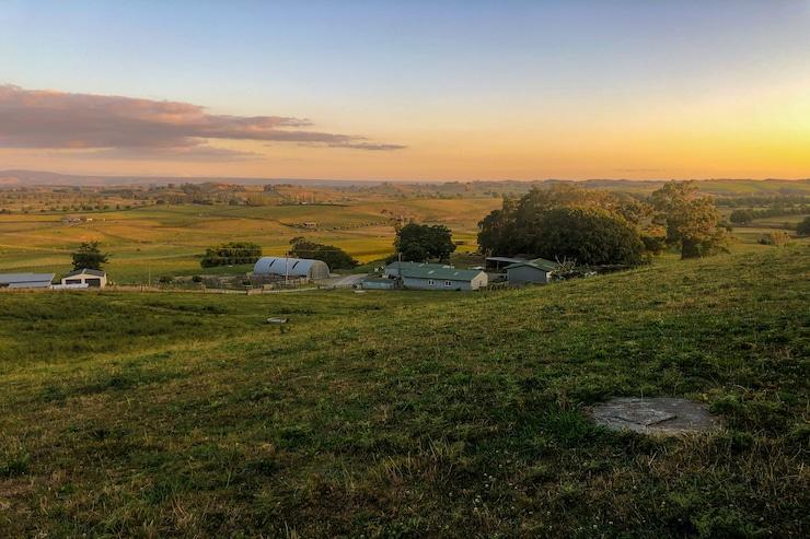 Aussicht vom Campingplatz bei Sonnenaufgang in Matamata